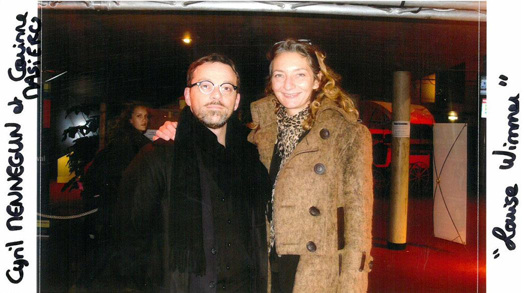 """Cyril Mennegun and his actress Corinne Masiero """"Louise Wimmer"""" (Audience Feature film award)"""